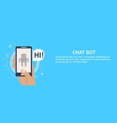 Chat bot on phone in hand banner vector