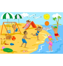 Children playing at the beach vector image vector image