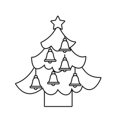 Christmas tree pine star and bells decoration vector
