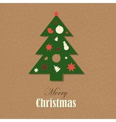 Christmas Vintage Card With Christmas Tree vector image vector image