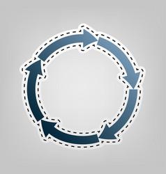 Circular arrows sign blue icon with vector