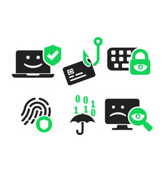 cyber security icon set vector image
