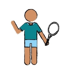 drawing character player tennis and racket vector image