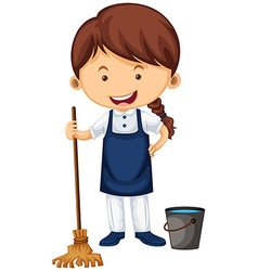 Female cleaner with broom and water bucket vector