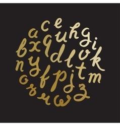 Gold handwritten alphabet vector