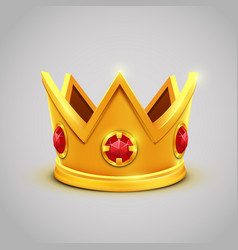 gold king crown with red jewels vector image