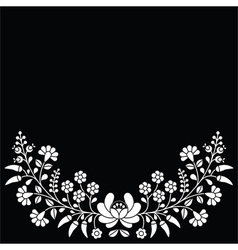 Hungarian white floral folk pattern - kalocsai vector