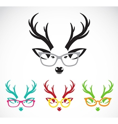 images of deer wearing glasses vector image vector image