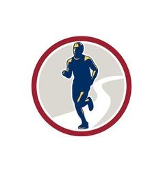 Marathon runner running circle retro vector