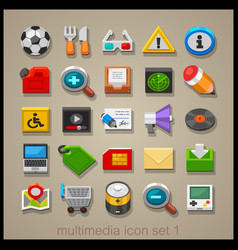 multimedia icon set-1 vector image vector image