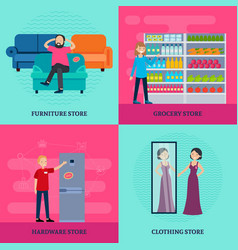People in shop square concept vector