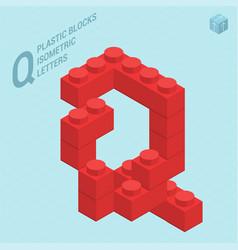 plastic blocs letter q vector image