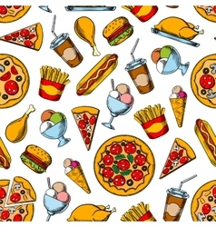 Retro seamless pattern of fast food dishes vector