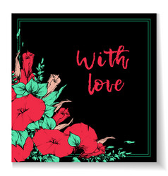 retro vintage postcard card or business card with vector image vector image