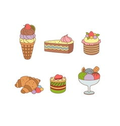 Set of pies and flour products from bakery or vector image