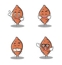 set of yam character cartoon vector image vector image