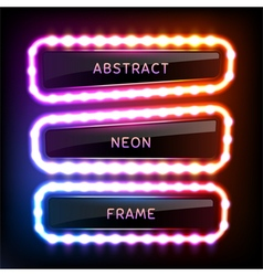 Set with glowing neon frames with light bulbs vector image