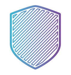 shield with striped in color gradient silhouette vector image