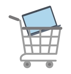 shopping cart online laptop technology vector image vector image