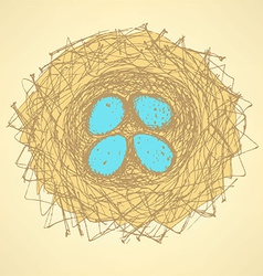 Sketch cute nest in vintage style vector image vector image