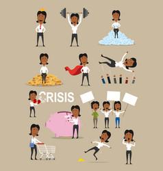 Successful businesswoman activities cartoon set vector