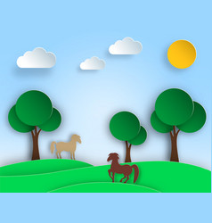 sunny nature landscape with trees meadow horse vector image