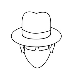 suspicious looking man icon image vector image