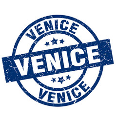 Venice blue round grunge stamp vector
