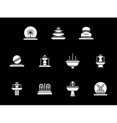 White glyph decorative fountains icons set vector