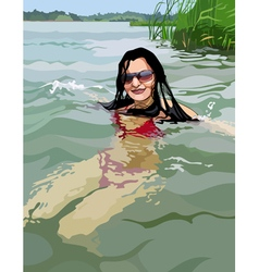 woman swimming in the clear lake vector image vector image