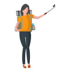 Woman with backpack taking selfie stick picture vector