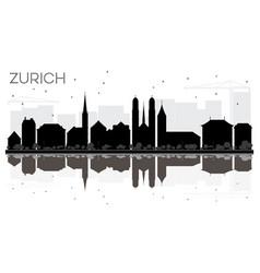 Zurich city skyline black and white silhouette vector