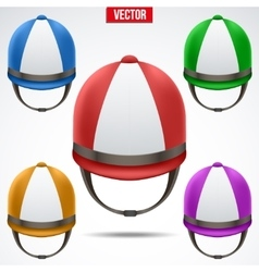 Set of classic jockey helmets vector