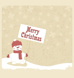 snowman with greetings vector image