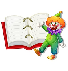 A clown and the big notebook vector image