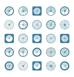 Radar flat icons set vector