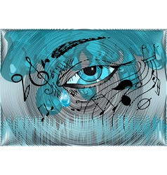 musical background with the human eye vector image