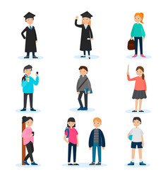 People in university set vector