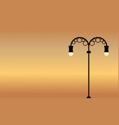 At sunset street lamp scenery art vector