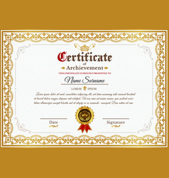 Certificate template with golden vintage vector