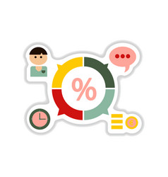 Paper sticker on white background business chart vector