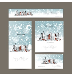 Merry christmas set postcards with cityscape vector