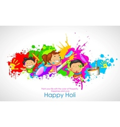 Kids playing holi vector