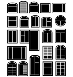 Set window silhouette vector