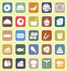 Food flat icons on yellow background vector image