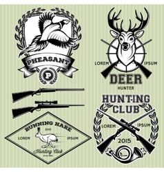 Set of emblems with a deer hare pheasant for vector