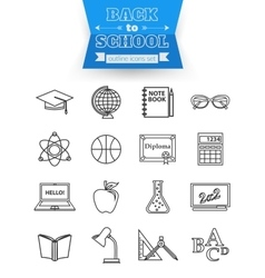 Set of back to school and education outline icons vector