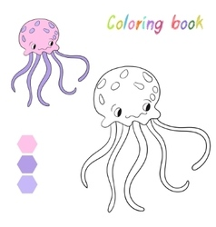 Coloring book jellyfish kids layout for game vector