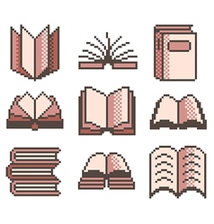 Pixel books for games icons set vector
