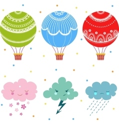 Cartoon air balloon icon vector